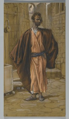 James Tissot (French, 1836-1902). <em>Judas Iscariot (Judas Iscariote)</em>, 1886-1894. Opaque watercolor over graphite on gray wove paper, Image: 11 1/16 x 6 in. (28.1 x 15.2 cm). Brooklyn Museum, Purchased by public subscription, 00.159.235 (Photo: Brooklyn Museum, 00.159.235_PS2.jpg)