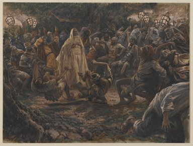 James Tissot (French, 1836-1902). <em>The Guards Falling Backwards (Les gardes tombant à la renverse)</em>, 1886-1894. Opaque watercolor over graphite on gray wove paper, Image: 7 13/16 x 10 3/8 in. (19.8 x 26.4 cm). Brooklyn Museum, Purchased by public subscription, 00.159.236 (Photo: Brooklyn Museum, 00.159.236_PS2.jpg)