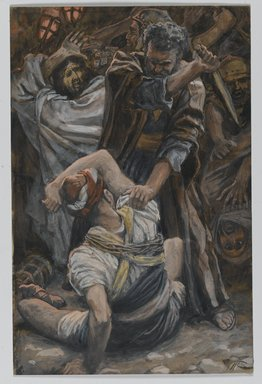 James Tissot (French, 1836-1902). <em>The Ear of Malchus (L'oreille de Malchus)</em>, 1886-1894. Opaque watercolor over graphite on gray wove paper, Image: 7 3/16 x 4 11/16 in. (18.3 x 11.9 cm). Brooklyn Museum, Purchased by public subscription, 00.159.238 (Photo: Brooklyn Museum, 00.159.238_PS2.jpg)