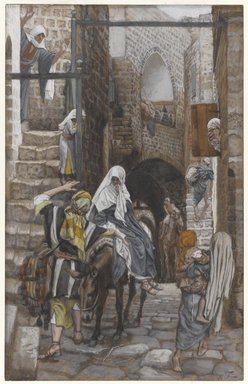 James Tissot (French, 1836-1902). <em>Saint Joseph Seeks a Lodging in Bethlehem (Saint Joseph cherche un gîte à Bethléem)</em>, 1886-1894. Opaque watercolor over graphite on gray wove paper, Image: 10 7/16 x 6 5/8 in. (26.5 x 16.8 cm). Brooklyn Museum, Purchased by public subscription, 00.159.23 (Photo: Brooklyn Museum, 00.159.23_PS1.jpg)