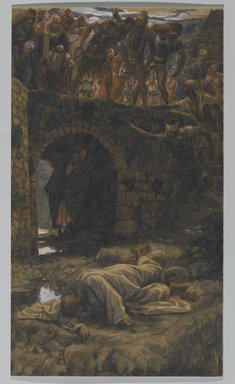 James Tissot (French, 1836-1902). <em>The Bridge of Kedron (Le pont de Cédron)</em>, 1886-1894. Opaque watercolor over graphite on gray wove paper, Image: 15 9/16 x 8 15/16 in. (39.5 x 22.7 cm). Brooklyn Museum, Purchased by public subscription, 00.159.240 (Photo: Brooklyn Museum, 00.159.240_PS2.jpg)