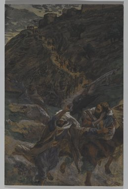 James Tissot (French, 1836-1902). <em>The Flight of the Apostles (La fuite des Apôtres)</em>, 1886-1894. Opaque watercolor over graphite on gray wove paper, Image: 7 7/16 x 4 7/8 in. (18.9 x 12.4 cm). Brooklyn Museum, Purchased by public subscription, 00.159.241 (Photo: Brooklyn Museum, 00.159.241_PS2.jpg)