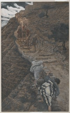 James Tissot (French, 1836-1902). <em>Saint Peter and Saint John Follow from Afar (Saint Pierre et Saint Jean suivent de loin)</em>, 1886-1894. Opaque watercolor over graphite on gray wove paper, Image: 9 13/16 x 6 1/16 in. (24.9 x 15.4 cm). Brooklyn Museum, Purchased by public subscription, 00.159.242 (Photo: Brooklyn Museum, 00.159.242_PS1.jpg)