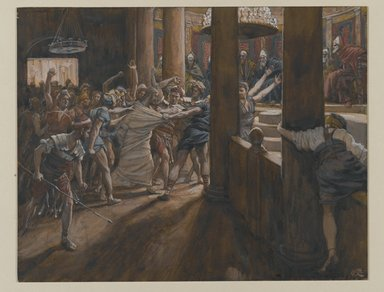 James Tissot (French, 1836-1902). <em>The Tribunal of Annas (Le tribunal d'Anne)</em>, 1886-1894. Opaque watercolor over graphite on gray wove paper, Image: 6 11/16 x 8 9/16 in. (17 x 21.7 cm). Brooklyn Museum, Purchased by public subscription, 00.159.243 (Photo: Brooklyn Museum, 00.159.243_PS2.jpg)
