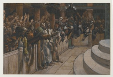 James Tissot (French, 1836-1902). <em>The False Witnesses (Les faux témoins)</em>, 1886-1894. Opaque watercolor over graphite on gray wove paper, Image: 8 x 11 13/16 in. (20.3 x 30 cm). Brooklyn Museum, Purchased by public subscription, 00.159.244 (Photo: Brooklyn Museum, 00.159.244_PS2.jpg)