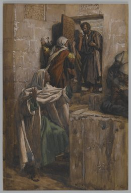 James Tissot (French, 1836-1902). <em>The First Denial of Saint Peter (Premier reniement de Saint Pierre )</em>, 1886-1894. Opaque watercolor over graphite on gray wove paper, image: 10 1/2 x 7 1/16 in. (26.7 x 17.9 cm). Brooklyn Museum, Purchased by public subscription, 00.159.245 (Photo: Brooklyn Museum, 00.159.245_PS2.jpg)