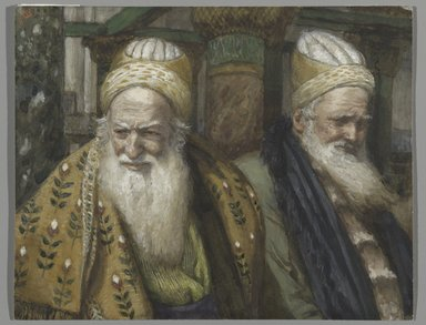 James Tissot (French, 1836-1902). <em>Annas and Caiaphas (Anne et Caïphe)</em>, 1886-1894. Opaque watercolor over graphite on gray wove paper, Image: 5 3/16 x 6 9/16 in. (13.2 x 16.7 cm). Brooklyn Museum, Purchased by public subscription, 00.159.247 (Photo: Brooklyn Museum, 00.159.247_PS2.jpg)