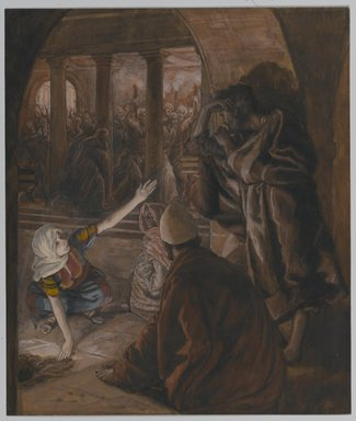 James Tissot (French, 1836-1902). <em>The Third Denial of Peter. Jesus' Look of Reproach (Le troisième reniement de Saint Pierre.  Le regard de reproche de Jésus).</em>, 1886-1894. Opaque watercolor over graphite on gray wove paper, Image: 9 3/16 x 7 13/16 in. (23.3 x 19.8 cm). Brooklyn Museum, Purchased by public subscription, 00.159.249 (Photo: Brooklyn Museum, 00.159.249_PS1.jpg)