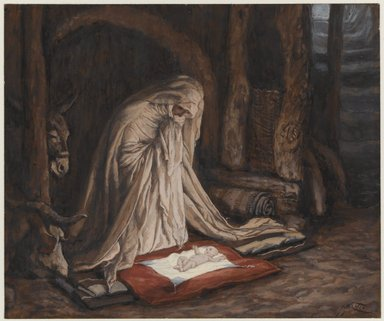 James Tissot (French, 1836-1902). <em>The Birth of Our Lord Jesus Christ (La nativité de Notre-Seigneur Jésus-Christ)</em>, 1886-1894. Opaque watercolor over graphite on gray wove paper, Image: 5 5/8 x 6 3/4 in. (14.3 x 17.1 cm). Brooklyn Museum, Purchased by public subscription, 00.159.24 (Photo: Brooklyn Museum, 00.159.24_PS1.jpg)