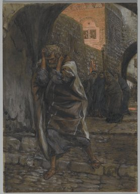 James Tissot (French, 1836-1902). <em>The Sorrow of Saint Peter (La douleur de Saint Pierre)</em>, 1886-1894. Opaque watercolor over graphite on gray wove paper, Image: 9 1/4 x 6 9/16 in. (23.5 x 16.7 cm). Brooklyn Museum, Purchased by public subscription, 00.159.251 (Photo: Brooklyn Museum, 00.159.251_PS2.jpg)