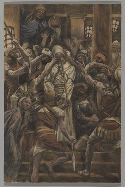 James Tissot (French, 1836-1902). <em>Maltreatments in the House of Caiaphas (Les mauvais traitements chez Caïphe)</em>, 1886-1894. Opaque watercolor over graphite on gray wove paper, Image: 12 1/2 x 8 3/16 in. (31.8 x 20.8 cm). Brooklyn Museum, Purchased by public subscription, 00.159.252 (Photo: Brooklyn Museum, 00.159.252_PS2.jpg)