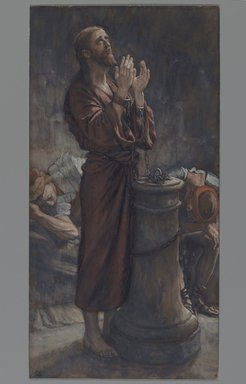 James Tissot (French, 1836-1902). <em>Good Friday Morning: Jesus in Prison (Le matin Vendredi Saint: Jésus en prison)</em>, 1886-1894. Opaque watercolor over graphite on gray wove paper, Image: 17 1/2 x 4 3/4 in. (44.5 x 12.1 cm). Brooklyn Museum, Purchased by public subscription, 00.159.253 (Photo: Brooklyn Museum, 00.159.253_PS2.jpg)