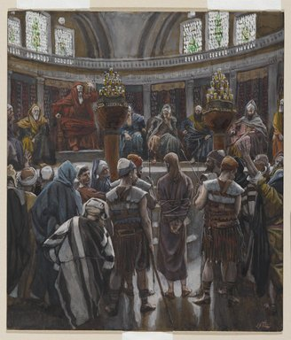 James Tissot (French, 1836-1902). <em>The Morning Judgment (Le jugement du matin)</em>, 1886-1894. Opaque watercolor over graphite on gray wove paper, Image: 8 5/16 x 7 3/16 in. (21.1 x 18.3 cm). Brooklyn Museum, Purchased by public subscription, 00.159.254 (Photo: Brooklyn Museum, 00.159.254_PS2.jpg)