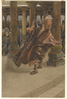 James Tissot (French, 1836-1902). <em>Judas Returns the Money (Judas rend l'argent)</em>, 1886-1894. Opaque watercolor over graphite on gray wove paper, Image: 11 13/16 x 7 3/4 in. (30 x 19.7 cm). Brooklyn Museum, Purchased by public subscription, 00.159.255 (Photo: Brooklyn Museum, 00.159.255_PS1.jpg)