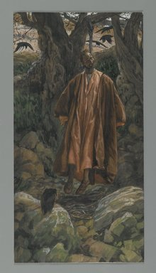 James Tissot (French, 1836-1902). <em>Judas Hangs Himself (Judas se pend)</em>, 1886-1894. Opaque watercolor over graphite on gray wove paper, Image: 11 7/8 x 6 1/8 in. (30.2 x 15.6 cm). Brooklyn Museum, Purchased by public subscription, 00.159.256 (Photo: Brooklyn Museum, 00.159.256_PS2.jpg)