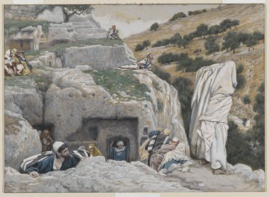 James Tissot (French, 1836-1902). <em>The Apostles' Hiding Place (La retraite des Apôtres)</em>, 1886-1894. Opaque watercolor over graphite on gray wove paper, Image: 6 3/4 x 9 3/8 in. (17.1 x 23.8 cm). Brooklyn Museum, Purchased by public subscription, 00.159.257 (Photo: Brooklyn Museum, 00.159.257_PS2.jpg)