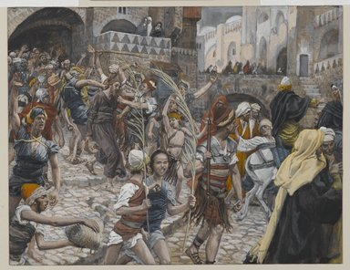 James Tissot (French, 1836-1902). <em>Jesus Led from Caiaphas to Pilate (Jésus conduit de Caïphe à Pilate)</em>, 1886-1894. Opaque watercolor over graphite on gray wove paper, Image: 6 11/16 x 8 5/8 in. (17 x 21.9 cm). Brooklyn Museum, Purchased by public subscription, 00.159.258 (Photo: Brooklyn Museum, 00.159.258_PS2.jpg)