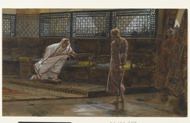 James Tissot (French, 1836-1902). <em>Jesus Before Pilate, First Interview (Jésus devant Pilate. Premier entretien).</em>, 1886-1894. Opaque watercolor over graphite on gray wove paper, Image: 6 5/8 x 11 1/4 in. (16.8 x 28.6 cm). Brooklyn Museum, Purchased by public subscription, 00.159.259 (Photo: Brooklyn Museum, 00.159.259_PS2.jpg)