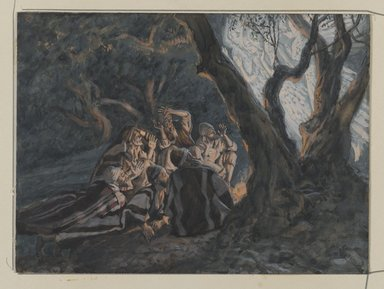 James Tissot (French, 1836-1902). <em>The Angel and the Shepherds  (L'ange et les bergers)</em>, 1886-1894. Opaque watercolor over graphite on gray wove paper, Image: 5 9/16 x 7 9/16 in. (14.1 x 19.2 cm). Brooklyn Museum, Purchased by public subscription, 00.159.25 (Photo: Brooklyn Museum, 00.159.25_PS2.jpg)