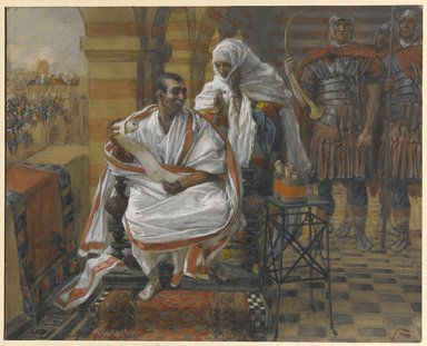 James Tissot (French, 1836-1902). <em>The Message of Pilate's Wife.  Pilate</em>, 1886-1894. Opaque watercolor over graphite on gray wove paper, a: 5 3/4 x 7 3/16 in. (14.6 x 18.3 cm). Brooklyn Museum, Purchased by public subscription, 00.159.260a-b (Photo: Brooklyn Museum, 00.159.260_PS1.jpg)