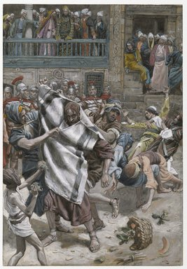 James Tissot (French, 1836-1902). <em>Jesus Before Herod (Jésus devant Hérode)</em>, 1886-1894. Opaque watercolor over graphite on gray wove paper, Image: 7 13/16 x 5 in. (19.8 x 12.7 cm). Brooklyn Museum, Purchased by public subscription, 00.159.261 (Photo: Brooklyn Museum, 00.159.261_PS2.jpg)