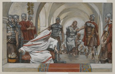 James Tissot (French, 1836-1902). <em>Jesus Led from Herod to Pilate (Jésus emmené de Hérode à Pilate)</em>, 1886-1894. Opaque watercolor over graphite on gray wove paper, Image: 4 15/16 x 7 3/4 in. (12.5 x 19.7 cm). Brooklyn Museum, Purchased by public subscription, 00.159.262 (Photo: Brooklyn Museum, 00.159.262_PS2.jpg)