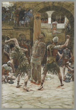 James Tissot (French, 1836-1902). <em>The Scourging on the Front (La flagellation de face)</em>, 1886-1894. Opaque watercolor over graphite on gray wove paper, Image: 14 1/4 x 9 11/16 in. (36.2 x 24.6 cm). Brooklyn Museum, Purchased by public subscription, 00.159.263 (Photo: Brooklyn Museum, 00.159.263_PS2.jpg)