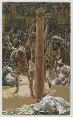 James Tissot (French, 1836-1902). <em>The Scourging on the Back (La flagellation de dos)</em>, 1886-1894. Opaque watercolor over graphite on gray wove paper, Image: 14 5/8 x 8 13/16 in. (37.1 x 22.4 cm). Brooklyn Museum, Purchased by public subscription, 00.159.264 (Photo: Brooklyn Museum, 00.159.264_PS2.jpg)
