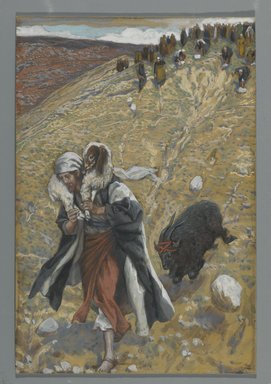James Tissot (French, 1836-1902). <em>Agnus-Dei: The Scapegoat (Agnus-Dei. Le bouc émissaire.)</em>, 1886-1894. Opaque watercolor over graphite on gray wove paper, Image: 10 1/16 x 6 3/4 in. (25.6 x 17.1 cm). Brooklyn Museum, Purchased by public subscription, 00.159.265 (Photo: Brooklyn Museum, 00.159.265_PS2.jpg)