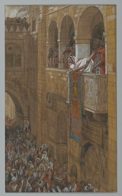 James Tissot (French, 1836-1902). <em>Behold the Man (Ecce Homo)</em>, 1886-1894. Opaque watercolor over graphite on gray wove paper, Image: 11 1/2 x 6 7/8 in. (29.2 x 17.5 cm). Brooklyn Museum, Purchased by public subscription, 00.159.267 (Photo: Brooklyn Museum, 00.159.267_after_treatment_PS2.jpg)