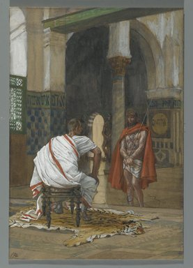 James Tissot (French, 1836-1902). <em>Jesus Before Pilate, Second Interview (Jésus devant Pilate. Deuxième entretien)</em>, 1886-1894. Opaque watercolor over graphite on gray wove paper, Image: 8 15/16 x 6 3/16 in. (22.7 x 15.7 cm). Brooklyn Museum, Purchased by public subscription, 00.159.268 (Photo: Brooklyn Museum, 00.159.268_PS2.jpg)