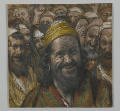 James Tissot (French, 1836-1902). <em>Barabbas</em>, 1886-1894. Opaque watercolor over graphite on gray wove paper, Image: 3 3/4 x 3 3/4 in. (9.5 x 9.5 cm). Brooklyn Museum, Purchased by public subscription, 00.159.269 (Photo: Brooklyn Museum, 00.159.269_PS2.jpg)