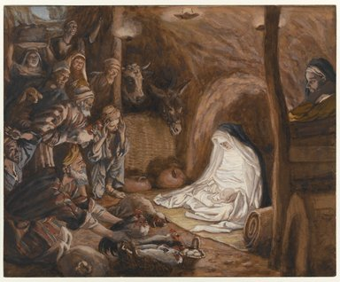 James Tissot (French, 1836-1902). <em>The Adoration of the Shepherds (L'adoration des bergers)</em>, 1886-1894. Opaque watercolor on gray wove paper, Image: 6 1/2 x 8 in. (16.5 x 20.3 cm). Brooklyn Museum, Purchased by public subscription, 00.159.26 (Photo: Brooklyn Museum, 00.159.26_PS1.jpg)