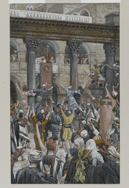 James Tissot (French, 1836-1902). <em>Let Him Be Crucified (Qu'il soit crucifié)</em>, 1886-1894. Opaque watercolor over graphite on gray wove paper, Image: 8 15/16 x 5 7/16 in. (22.7 x 13.8 cm). Brooklyn Museum, Purchased by public subscription, 00.159.270 (Photo: Brooklyn Museum, 00.159.270_PS2.jpg)