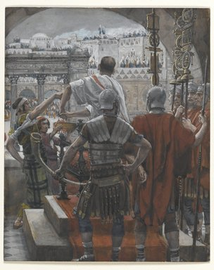 James Tissot (French, 1836-1902). <em>Pilate Washes His Hands (Pilate se lave les mains)</em>, 1886-1894. Opaque watercolor over graphite on gray wove paper, Image: 6 1/4 x 5 1/8 in. (15.9 x 13 cm). Brooklyn Museum, Purchased by public subscription, 00.159.271 (Photo: Brooklyn Museum, 00.159.271_PS2.jpg)