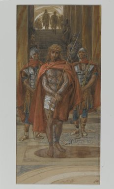 James Tissot (French, 1836-1902). <em>Jesus Leaves the Praetorium (Jésus quitte le pretoire)</em>, 1886-1894. Opaque watercolor over graphite on gray wove paper, Image: 9 9/16 x 4 1/2 in. (24.3 x 11.4 cm). Brooklyn Museum, Purchased by public subscription, 00.159.273 (Photo: Brooklyn Museum, 00.159.273_PS2.jpg)