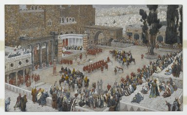 "James Tissot (French, 1836-1902). <em>Bird's-Eye View of the Forum: Jesus Hears His Death Sentence (Le Forum ""vu à vol d'oiseau.""  Jésus entend sa condamnation à mort)</em>, 1886-1894. Opaque watercolor over graphite on gray wove paper, Image: 6 15/16 x 11 9/16 in. (17.6 x 29.4 cm). Brooklyn Museum, Purchased by public subscription, 00.159.274 (Photo: Brooklyn Museum, 00.159.274_PS2.jpg)"