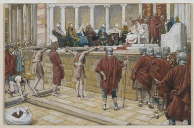 James Tissot (French, 1836-1902). <em>The Judgment on the Gabbatha (Le jugement sur le Gabatha)</em>, 1886-1894. Opaque watercolor over graphite on gray wove paper, Image: 5 5/16 x 8 1/16 in. (13.5 x 20.5 cm). Brooklyn Museum, Purchased by public subscription, 00.159.275 (Photo: Brooklyn Museum, 00.159.275_PS2.jpg)