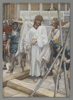 James Tissot (French, 1836-1902). <em>They Dressed Him in His Own Garments (On remet à Jésus ses vêtements)</em>, 1886-1894. Opaque watercolor over graphite on gray wove paper, Image: 8 1/2 x 6 3/16 in. (21.6 x 15.7 cm). Brooklyn Museum, Purchased by public subscription, 00.159.277 (Photo: Brooklyn Museum, 00.159.277_PS2.jpg)