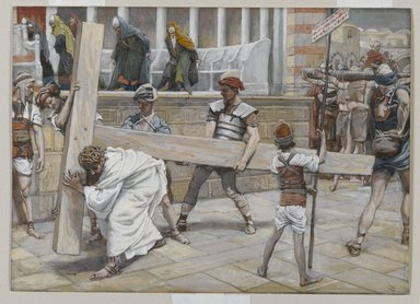 James Tissot (French, 1836-1902). <em>Jesus Bearing the Cross (Jésus chargé de la Croix)</em>, 1886-1894. Opaque watercolor over graphite on gray wove paper, Image: 6 7/8 x 9 9/16 in. (17.5 x 24.3 cm). Brooklyn Museum, Purchased by public subscription, 00.159.278 (Photo: Brooklyn Museum, 00.159.278_PS2.jpg)