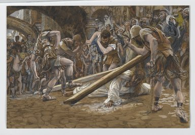James Tissot (French, 1836-1902). <em>Jesus Falls Beneath the Cross (Jésus tombe sous la Croix)</em>, 1886-1894. Opaque watercolor over graphite on gray wove paper, Image: 8 1/4 x 12 5/16 in. (21 x 31.3 cm). Brooklyn Museum, Purchased by public subscription, 00.159.279 (Photo: Brooklyn Museum, 00.159.279_PS2.jpg)