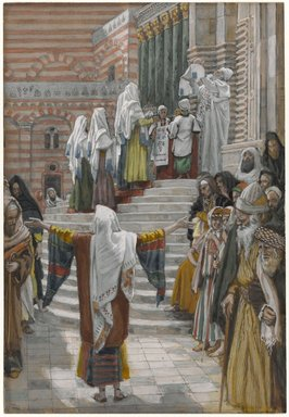 James Tissot (French, 1836-1902). <em>The Presentation of Jesus in the Temple (La présentation de Jésus au Temple)</em>, 1886-1894. Opaque watercolor over graphite on gray wove paper, Image: 8 3/4 x 6 in. (22.2 x 15.2 cm). Brooklyn Museum, Purchased by public subscription, 00.159.27 (Photo: Brooklyn Museum, 00.159.27_PS1.jpg)