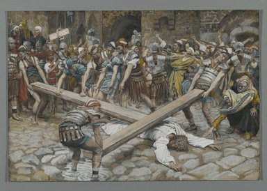 James Tissot (French, 1836-1902). <em>Simon the Cyrenian Compelled to Carry the Cross with Jesus (Simon de Cyrène contraint de porter la Croix avec Jésus)</em>, 1886-1894. Opaque watercolor over graphite on gray wove paper, Image: 7 15/16 x 11 11/16 in. (20.2 x 29.7 cm). Brooklyn Museum, Purchased by public subscription, 00.159.281 (Photo: Brooklyn Museum, 00.159.281_PS2.jpg)