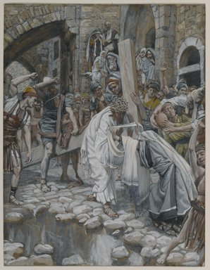 James Tissot (French, 1836-1902). <em>A Holy Woman Wipes the Face of Jesus (Une sainte femme essuie le visage de Jésus)</em>, 1886-1894. Opaque watercolor over graphite on gray wove paper, Image: 9 1/8 x 7 in. (23.2 x 17.8 cm). Brooklyn Museum, Purchased by public subscription, 00.159.283 (Photo: Brooklyn Museum, 00.159.283_PS1.jpg)