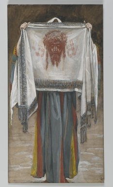 James Tissot (French, 1836-1902). <em>The Holy Face (La sainte face)</em>, 1886-1894. Opaque watercolor over graphite on gray wove paper, Image: 8 3/8 x 4 9/16 in. (21.3 x 11.6 cm). Brooklyn Museum, Purchased by public subscription, 00.159.284 (Photo: Brooklyn Museum, 00.159.284_PS2.jpg)