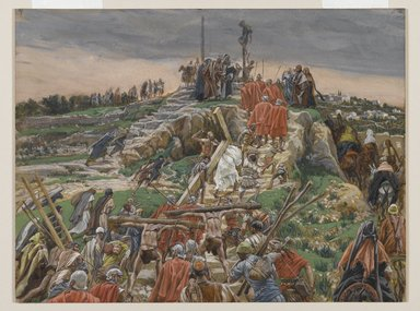 James Tissot (French, 1836-1902). <em>The Procession Nearing Calvary (Le cortège arrivant au calvaire)</em>, 1886-1894. Opaque watercolor over graphite on gray wove paper, Image: 8 11/16 x 11 1/2 in. (22.1 x 29.2 cm). Brooklyn Museum, Purchased by public subscription, 00.159.286 (Photo: Brooklyn Museum, 00.159.286_PS2.jpg)