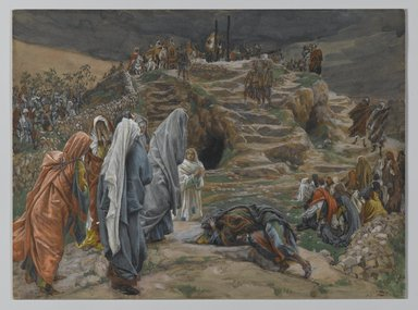 James Tissot (French, 1836-1902). <em>The Holy Women Watch from Afar (Les saintes femmes observent de loin)</em>, 1886-1894. Opaque watercolor over graphite on gray wove paper, Image: 6 7/8 x 9 1/4 in. (17.5 x 23.5 cm). Brooklyn Museum, Purchased by public subscription, 00.159.287 (Photo: Brooklyn Museum, 00.159.287_PS2.jpg)