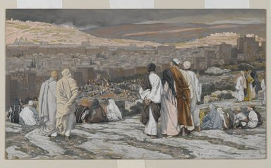 James Tissot (French, 1836-1902). <em>The Disciples Having Left Their Hiding Place Watch from Afar in Agony (Les disciples ayant quitté leur retraite assistent de loin au supplice)</em>, 1886-1894. Opaque watercolor over graphite on gray wove paper, Image: 5 1/16 x 8 3/4 in. (12.9 x 22.2 cm). Brooklyn Museum, Purchased by public subscription, 00.159.288 (Photo: Brooklyn Museum, 00.159.288_PS2.jpg)