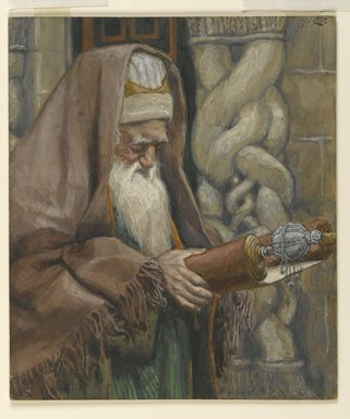 James Tissot (French, 1836-1902). <em>The Aged Simeon (Le vieux Siméon)</em>, 1886-1894. Opaque watercolor over graphite on gray wove paper, image: 5 5/16 x 4 9/16 in. (13.5 x 11.6 cm). Brooklyn Museum, Purchased by public subscription, 00.159.28 (Photo: Brooklyn Museum, 00.159.28_PS2.jpg)