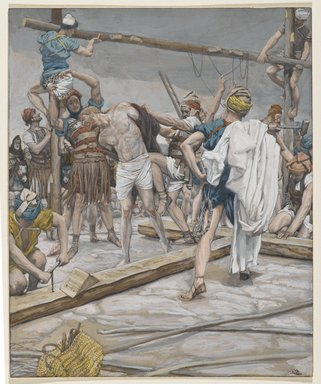 James Tissot (French, 1836-1902). <em>Jesus Stripped of His Clothing (Jésus dépouillé des ses vêtements)</em>, 1886-1894. Opaque watercolor over graphite on gray wove paper, Image: 9 1/4 x 7 9/16 in. (23.5 x 19.2 cm). Brooklyn Museum, Purchased by public subscription, 00.159.290 (Photo: Brooklyn Museum, 00.159.290_PS2.jpg)
